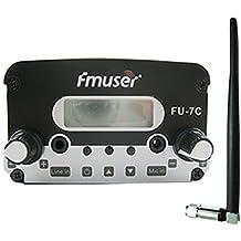 Transmisor FM FMUSER FU-7C emisión de la señal inalámbrica de Radio Audio Studio y Caucho antena corta + adaptador de corriente KIT