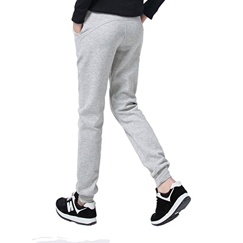 SEEU Damen Sporthose lang Jogginghose Slim Fit Trainingshose Sweat Pants mit Bündchen GRAU