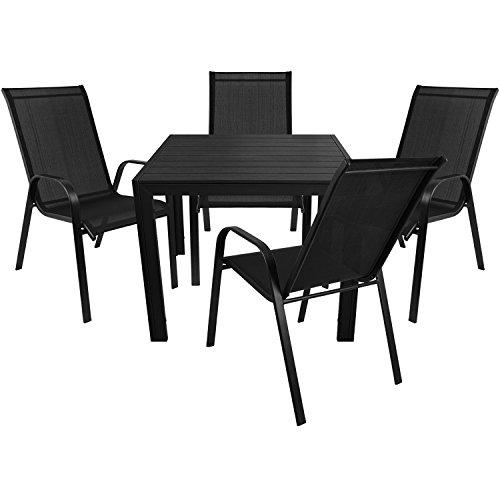 5tlg. Gartengarnitur Aluminium Gartentisch mit Polywood-Tischplatte 90x90cm + 4x Stapelstuhl Stahlgestell pulverbeschichtet mit Textilenbespannung - Schwarz
