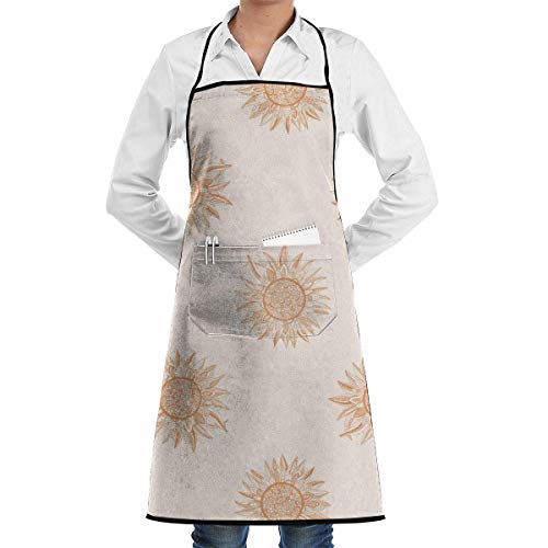 Einfache Ares Kostüm - Sunflowers are Like The Sun Schürze Lace Adult Mens Womens Chef Adjustable Polyester Long Full Black Cooking Kitchen Schürzes Bib with Pockets for Restaurant Baking Crafting Gardening BBQ Grill
