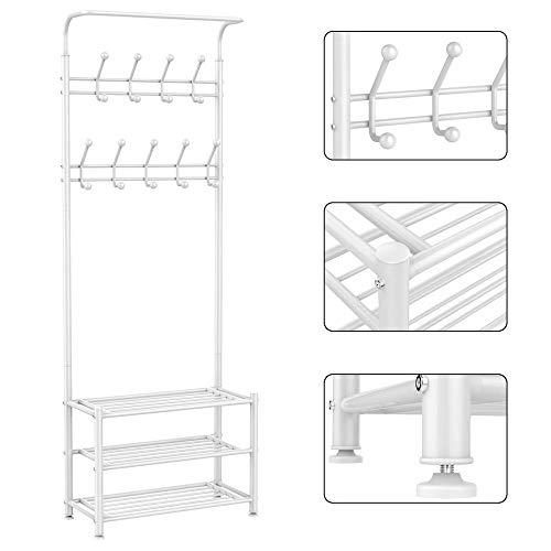 Yaheetech Garderobenständer mit 3 schuhablage & 18 Garderobenhaken Kleiderständer Wäscheständer Kleiderstange(Weiß)