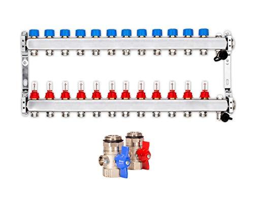Collettore per riscaldamento a pavimento, 12 circuiti di riscaldamento