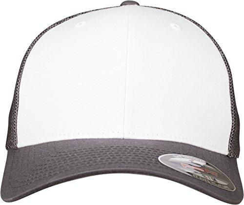 Flexfit Mesh Colored Front Unisex Kappe für Damen und Herren, Mehrfarbig (darkgrey/White), L/XL