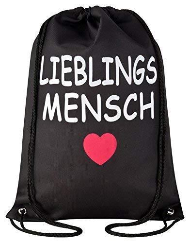 Aminata Kids Kinder-Turnbeutel für Mädchen und Damen mit Sprüche Herz-en Streifen Love Liebe lieb-sten Lieblingsmensch-en Sport-Tasche-n Gym-Bag Sport-Beutel-Tasche Weiss rot...
