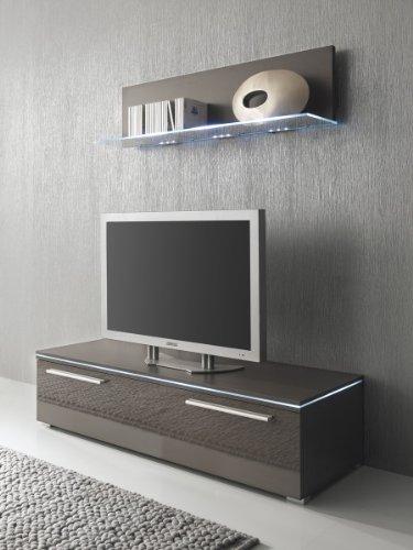 Lowboard und Glasbodenpaneel lavagrau Fronten hochglanz optional LED-Beleuchtung, Beleuchtung:Beleuchtung Weiß;Breite:120