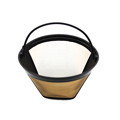 luerme Edelstahl Ersatz Kaffeefilter Filter Kaffee Kaffee Sieb Filter Net # 4Permanent Coffee Filter für Kaffeemaschine und Brewers waschbar und wiederverwendbar Cone Shape (Tasse 4 Filter Korb Kaffee)