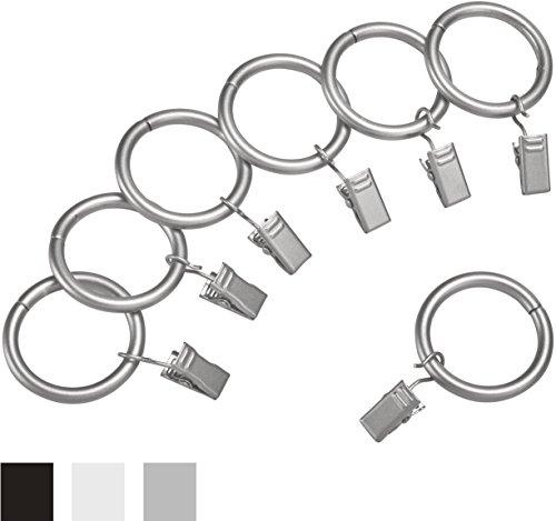 AmazonBasics Vorhangringe-Set, mit Clip, 2,54cm, 7er-Pack