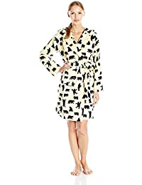 Hatley Adult Fleece Robes - Black Bears on Natural - Peignoir - Femme