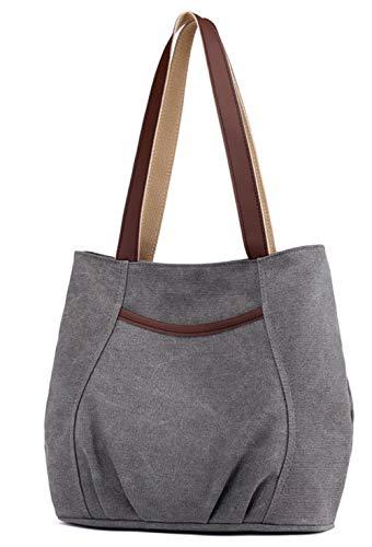 Damen Canvas Schultertasche Frauen Handtasche Casual Umhängetaschen Hobo Tote Shopper Bag für Arbeit Schule Reise Grau