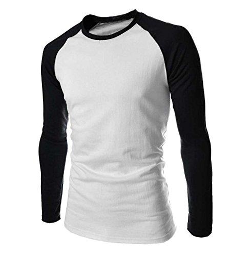 Tomatoa Herren Longsleeve Shirt Sweatshirt Pullover Langarmshirt Rundhalskragen Basic Hoodie Sweater Regular Fit, T-Shirt, Baseball Slim Fit Basic T-Shirts Baumwolle Regular Fit (Weiß, M)