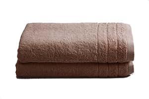 """2 tlg.Duschtuchset """"Selmin"""" 2x Duschtücher 70x140 cm in Beige, 100% Baumwolle 600 g/m²"""