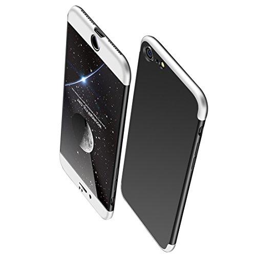 iPhone 6S 6 Hülle , JEPER 3 in 1 Ultra Dünner PC Harte Schutzhülle Case 360 Grad Schützend Handyhülle Anti-Kratzer Bumper Cover Vollschutz Schale für Apple IPhone 6/6s silver+black