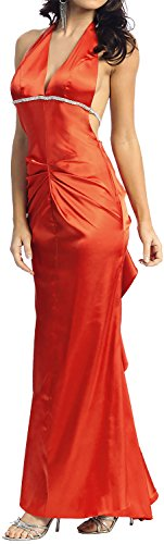 Abendkleid rückenfrei Neckholder Ballkleid lang orangerot Größe 40 (Neckholder-kleid Perlen Gefüttert,)