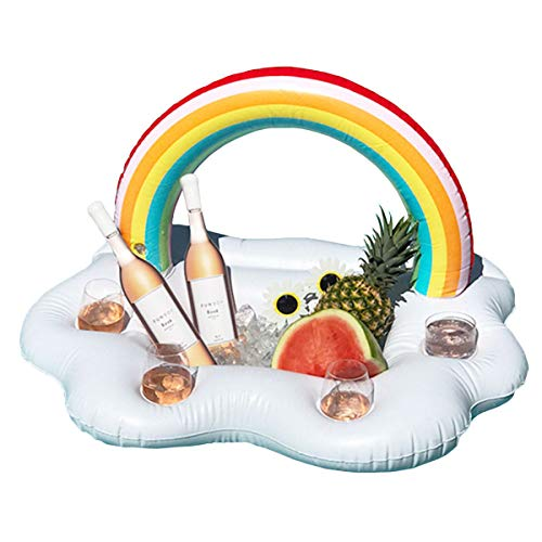 Andensoner Flotador Inflable, Inflable 4 Agujeros Rainbow Nube Flotador de Agua Bebidas Bebidas Copas Holder Tub Bar Swim Pool Juego de Juguete