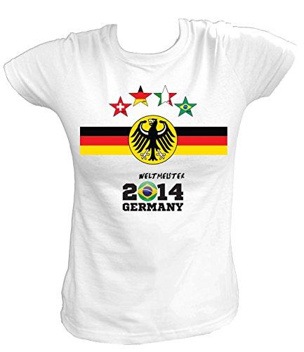Artdiktat Damen Deutschland Fan T-Shirt - Fussball EM 2016 / Brasilien 2014 Germany - inkl. Wunschname und Nummer 4 Sterne Größe M, weiß