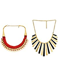 FedexoTwo In One Beautiful Pearl With Gold N Black Plated Statement Necklace