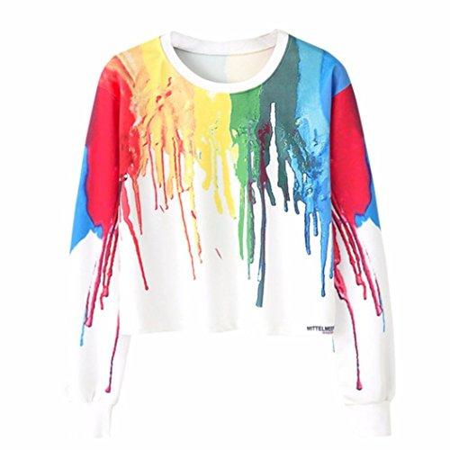 Amlaiworld mode Mehrfarbiger Farbdruck Kurz pulli Langarmshirts damen bauchfrei locker Sweatshirt weich sport Winter Herbst pullover (M, Weiß)