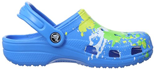 Crocs Classic Splatter Gra, Zoccoli Unisex – Bambini Blu (Ocean)