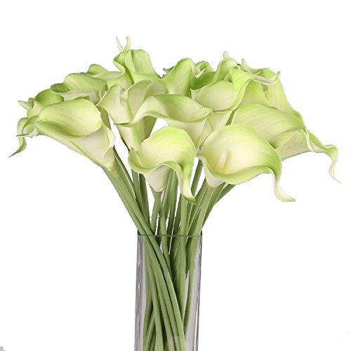 Cozyswan Qualità artificiale alta Fiore Vero Cala Lily di tocco per la decorazione del partito, compleanno, matrimonio, feste, bianche 20 pz - Verde