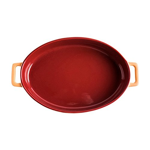 LI Teller- Red Keramik Oval Backformen Hochtemperatur-Backen Binaural Fisch Käse Ravioli Reisgericht Ofen Universal 10 Zoll Platte Tableware