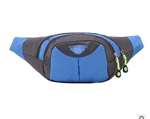 ZYT Herren und Damen Handy Tasche koreanischen Mode outdoor Nylon Geldbörse wasserdichten Beutel Blue