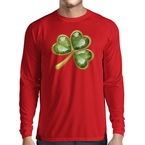 T-Shirt mit Langen Ärmeln Irish Shamrock St Patricks Day Clothing (Medium Rot Mehrfarben)