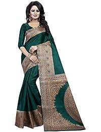 JENCY FASHION Kalamkari Silk Saree With Blouse (GREEN)
