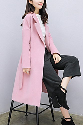 Les Femmes Élégantes Woolencoat Manches Longues Wasitband Pur Extérieur De La Tenue De Midi pink