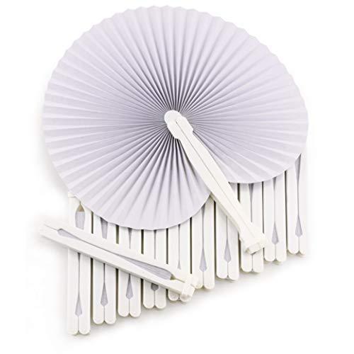 WeddingTree ® 60 x Handfächer Papier weiß faltbar - DIY- und Deko-Spaß für Groß und Klein - Gast-Geschenk Hochzeit Party Flamenco Bauch-Tanz (Tisch Hochzeit Ideen Dekoration)