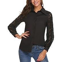 Meaneor Mujeres Camiseta con Manga Larga de Gasa con Cuello Redondo