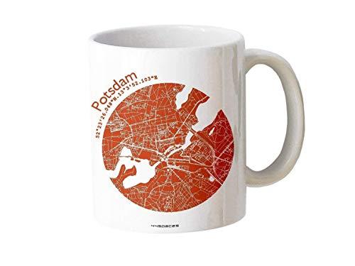 Design-Tasse Potsdam Stadtplan Landkarte in 5 Farben, Geschenk-Idee Arbeit Büro Chef Zuhause