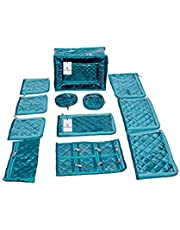Kuber Industries™ Jewellery Kit/Make up Kit/Box with 12 Pouches in Heavy Quilted Satin