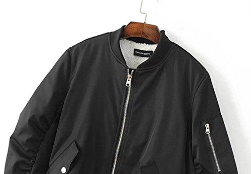 SaiDeng Femmes Retro Pied De Col À Manches Longues Zipper Veste Courte Bomber Jacket Noir