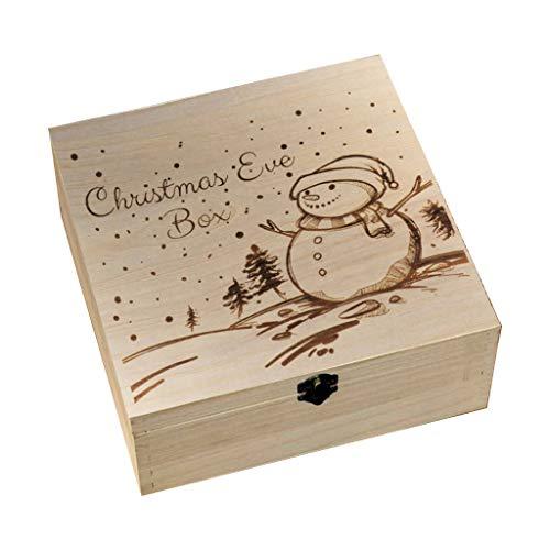 jiheousty Caja de Nochebuena Grabado en Madera Regalo Navidad ...