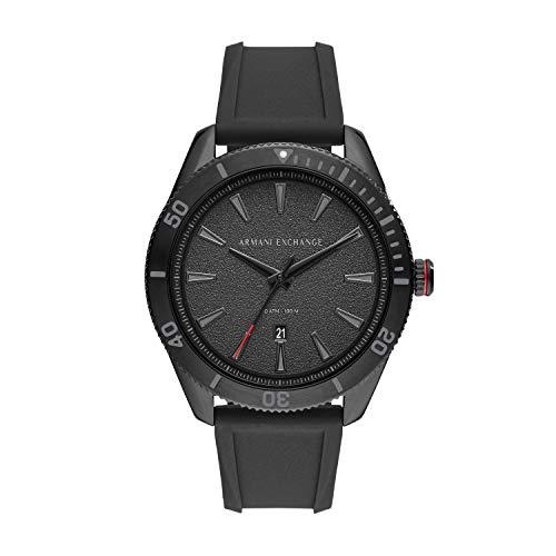Armani Exchange Herren Analog Quarz Uhr mit Silikon Armband AX1829