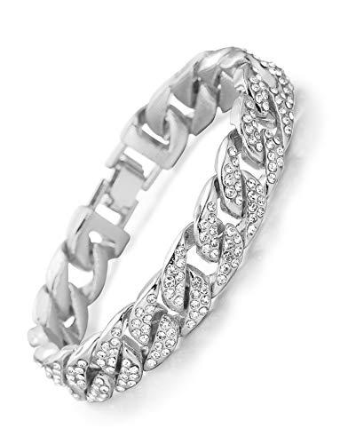 """Halukakah ● Bling ● Herren Armband Silber Platin überzogen Diamanten Gesetzt Groß Miami Kubanische Kette 8.66\""""(22cm) mit Kostenloser Geschenkpackung (Platin überzogen, 22)"""