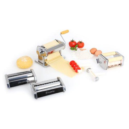 Klarstein macchina per la pasta con manovella (stendipasta con 3 attacchi per diversi tipi di pasta, spessore regolabile, largezza 15cm, pinza) - acciaio cromato