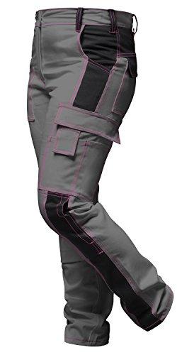 strongAnt Pantaloni da lavoro Donna, tasca per ginocchiere, Cerniera Lampo YKK + bottone YKK - KERMEN - fatto nell'UE Grigio-Nero 76