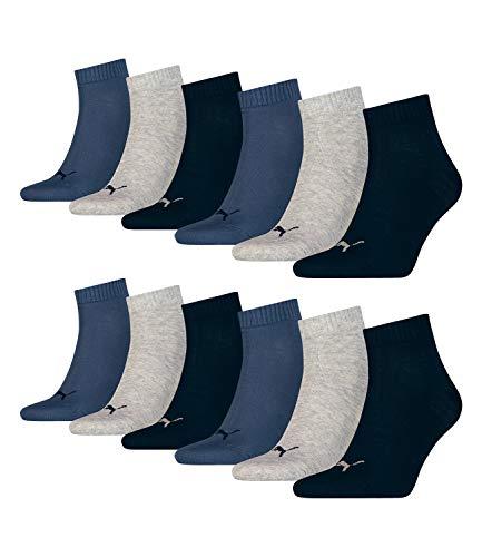 Puma 12 Paar Unisex Quarter Socken Sneaker Gr. 35-49 für Damen Herren Füßlinge, Farbe:532 - Navy/Grey/Nightshadow b, Socken & Strümpfe:39-42