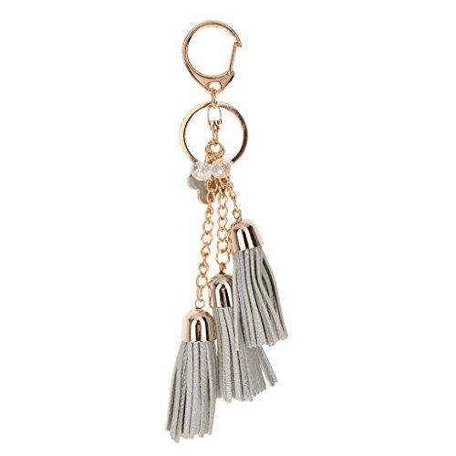 Preisvergleich Produktbild Beiläufige PU Leder Quasten Keychain Beutel Anhänger Geldbeutel Dekor Schlüsselanhänger Handtasche Charme - SILBER, one size