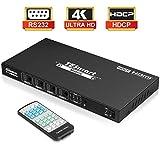 TESmart 4X4 HDMI Switch 4K Matrix Switcher Ultra HD HDMI 4 Porte Ingressi e 4 Porte Output con controllo remoto IR RS232 Supporta 4Kx2K @30HZ, HDCP, 3D e Deep Colour, compatibile HDMI 1.4