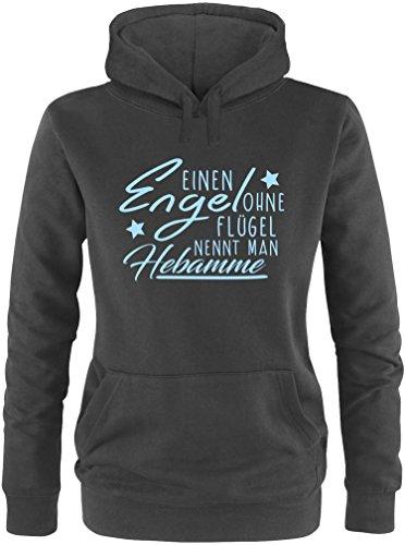 EZYshirt® Ein Engel ohne Flügel nennt man Hebamme Damen Hoodie Schwarz/Hellblau