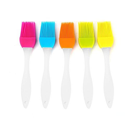GLOGLOW Silikon-Heftpinsel-Silikon-Borsten-Plastikgriff-Griff-Flexibler Kopf Beständig Nahrungsmittelgrad-Pasten-Bürsten-Grill-Gerät für BBQ-Grillen Marining-Nachtische, die Öl-Bürste Backen -