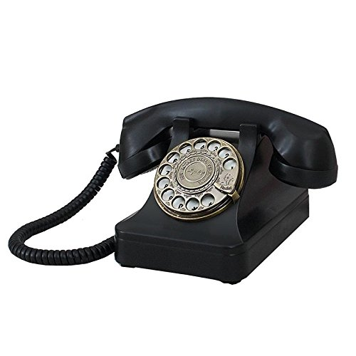Health UK Telephone- Téléphone Classique Vintage Platine Noir ABS Téléphone Cadran Bureau Accueil Landline Fixe Landing Machine Métal Bell Welcome (Couleur : Noir)