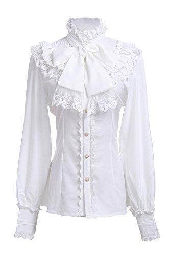 Damen Viktorianische Chiffon Bluse Rüsche Shirts Vintage Tops weiß (Knopf-manschette - Bluse Rüschen)