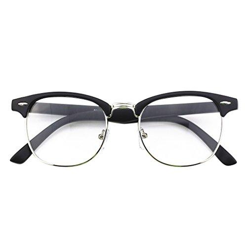 CGID 50er Jahre Retro Nerd Brille Halbrahmen Hornbrille Stil Rockabilly Streberbrille, Matte Schwarz, M