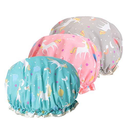 Duschhaube, Eva Shampoo Cap Double Waterproof Layers Duschhaube für Mädchen und Frauen (3pcs Einhorn Duschhauben (blau, pink, grau))