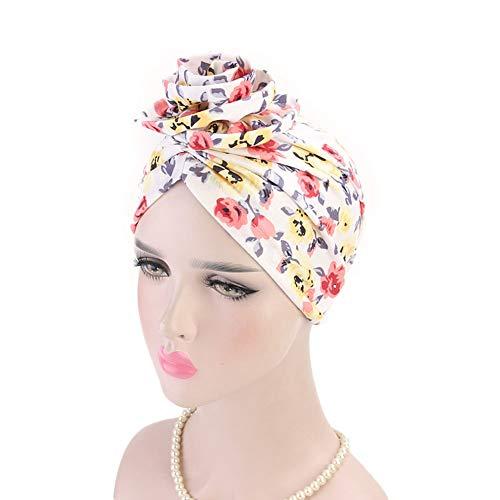 Tukistore Böhmen Turban Frauen Damen Platte Blume Muslimische Kopftuch Kopfbedeckung Schlafmütze Chemo Hut für Haarverlust, Chemo, Krebs Cap Chemotherapie