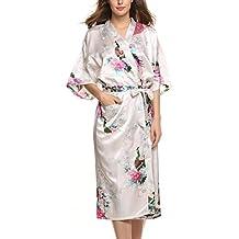Avidlove Pijama Lencería Kimono largo pavo de satén y estampado floral para mujer