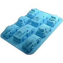Molde de silicona para decoración de pasteles, diseño de coches, 8 figuras